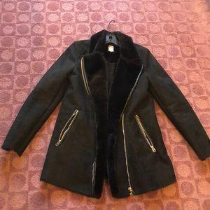Zara Suede & Fur Black Coat SIZE XS